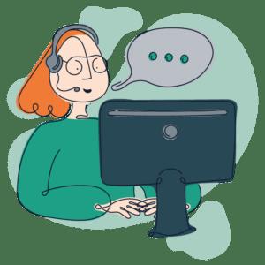 Illustration af psykolog der afholder udredende forsamtale