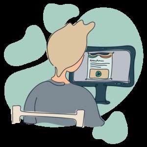 Illustration af patient der besøger internetpsykiatriens behandlingsplatform