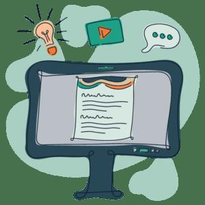 Illustration af computer med internetpsykiatriens behandlingsprogram åbent på skærmen