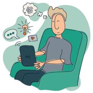 Illustration af patient der benytter internetpsykiatriens behandlingsplatform i eget hjem